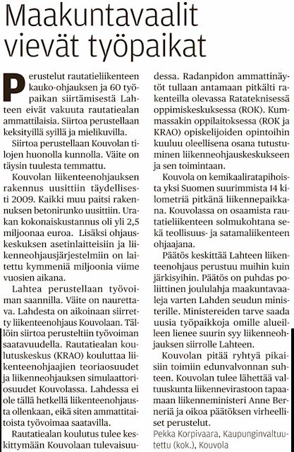 Pekka Korpivaara Maakuntavaalit vie työpaikat Kouvolasta