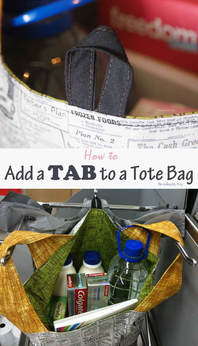 How to add a tab to a tote bag. Tutorial by Threading My Way.
