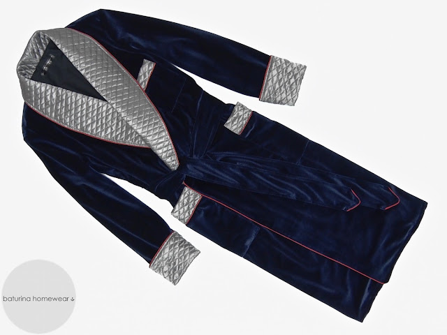 Mens quilted silk dressing gown warm velvet smoking jacket vintage robe