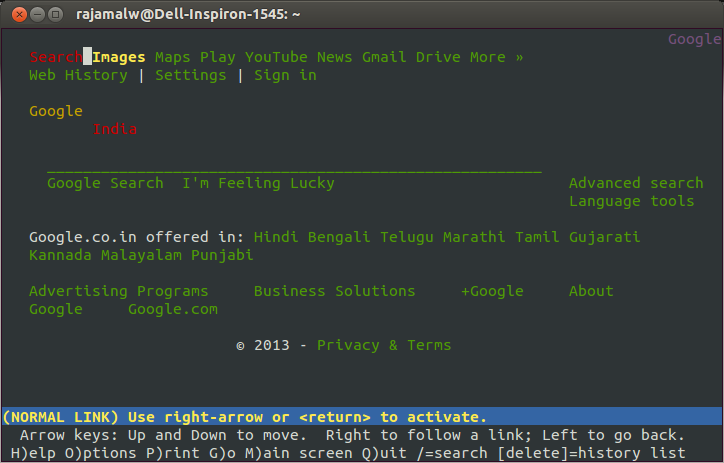 linux terminal browsing, links browser, lynx browser