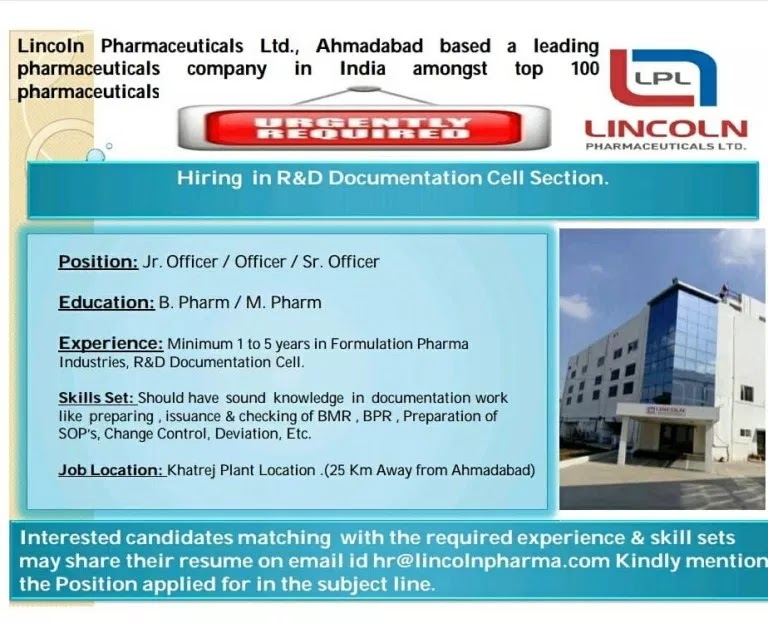 Lincoln pharmaceuticals Limited Walk-In Hiring In Quality