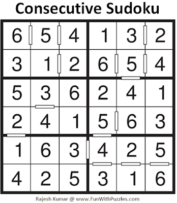 Answer of Consecutive Sudoku Puzzle (Mini Sudoku Series #113)