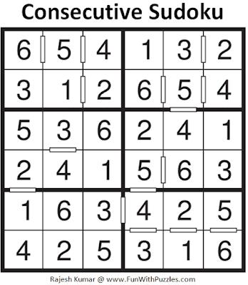 Answer of Consecutive Sudoku Puzzle (Mini Sudoku Series #113)