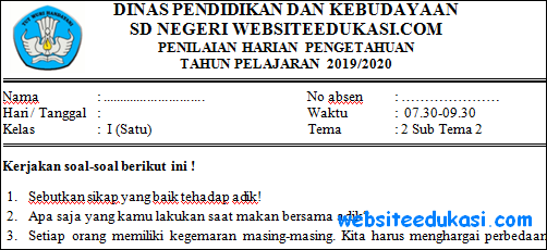 Soal PH Kelas 1 Tema 2 Subtema 2