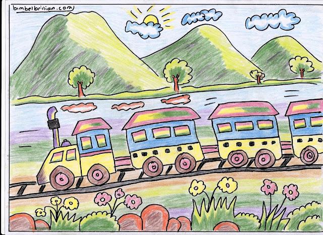 5. Gambar Kereta Api Warna-Warni dan Pegunungan