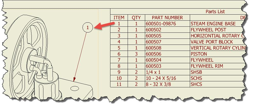 parts list template