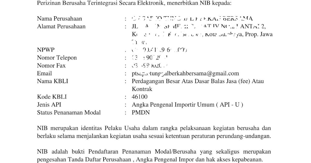Contoh Surat Api Up Nomor Induk Berusaha Nib Indonesia