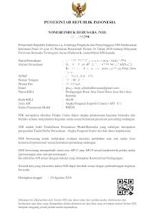 Contoh NIB-Nomor Induk Berusaha Sebagai Pengganti NIK