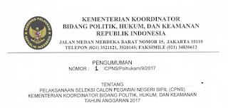 Penerimaan CPNS Terbaru Kementerian Koordinator Bidang Politik, Hukum dan Keamanan