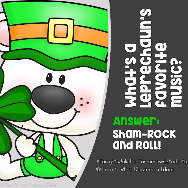 Tonight's Joke for Tomorrow's Students   What's a leprechaun's favorite music?   Answer: Sham-rock and roll!    Did you know riddles and jokes promote both critical thinking skills and creative thinking skills in our students? 😎  Follow my joke board for more great student jokes!