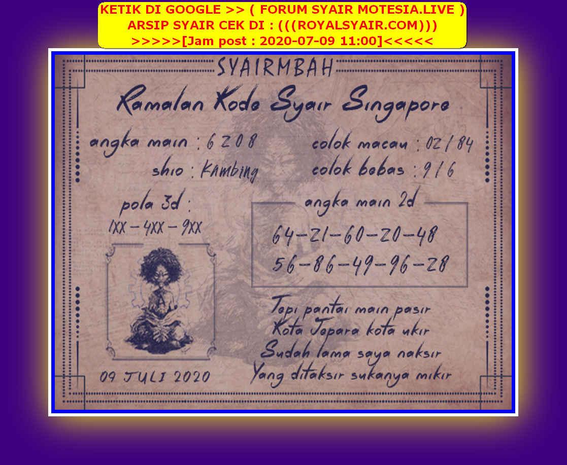 Kode syair Singapore Kamis 9 Juli 2020 43