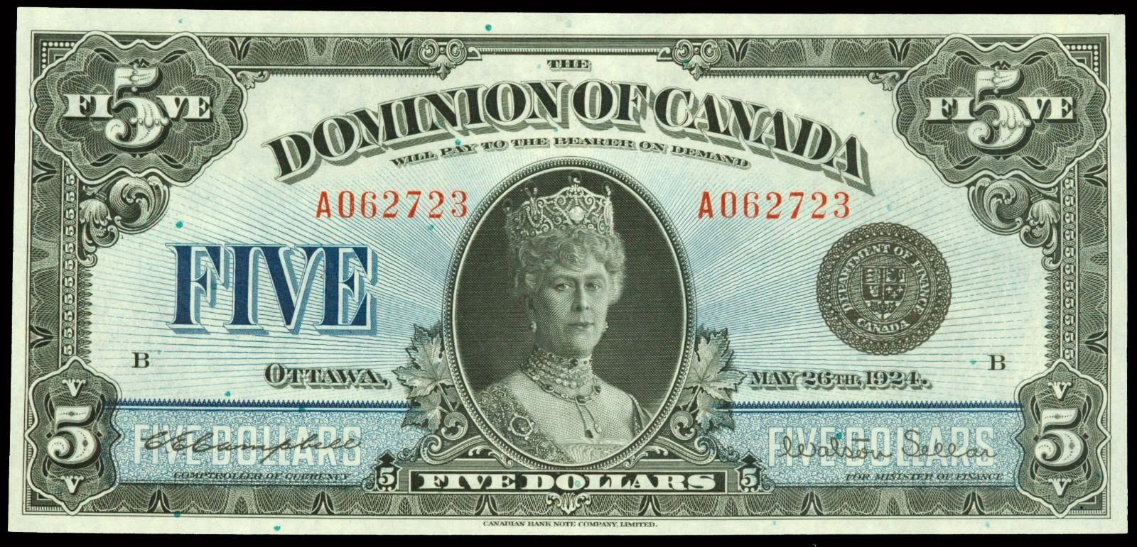 Dominion of Canada 5 Dollars banknote 1924 Queen Mary