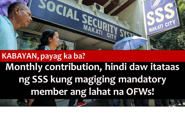 Overseas Filipino Workers (OFWs) may help to prevent the planned increase in Social Security Service (SSS) contribution starting May 2017.  The increase is due to approval of P1,000 pension hike for retirees that will be implemented this month. The second tranche of P1,000 pension will be on 2022.  According to SSS Chairman Amado Valdez, an increase in membership and contribution from OFWs may help stave off the plan to increase contribution from members by 1.5 percent or, to 12.5 percent from 11 percent.  He said this increase will compensate for the increased payouts for the retirees.