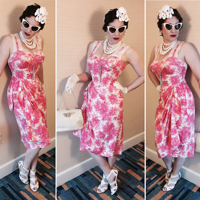 Miss Carriger At San Diego Comic Con 2017 in Vintage Pink Flowered Tiki