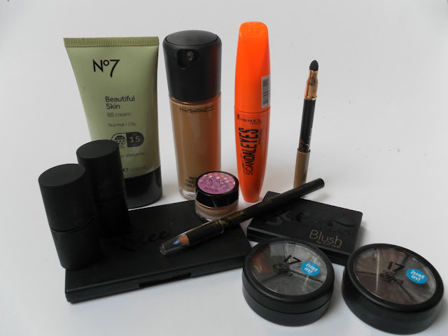 A picture of high-street and high-end makeup products