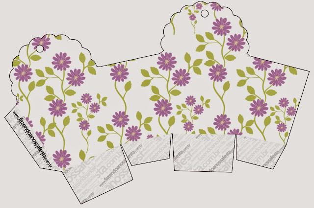 Caja para cupcakes, chocoltes o golosinas de Flores Moradas.