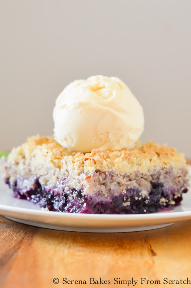 Serve Blueberry Crisp with Vanilla Ice Cream.