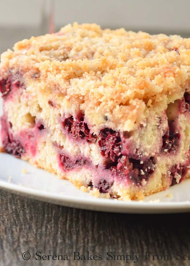 Sliced Blackberry Buckle recipe is a light cake with cinnamon and vanilla and crumb topping. It's a favorite for brunch or dessert from Serena Bakes Simply From Scratch.