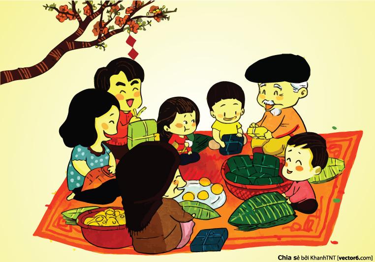 Tải hình ảnh cả gia đình quây quần bên mâm bánh chưng làm bánh và nghe ông bà kể lại những câu chuyện cổ tích ngày xưa