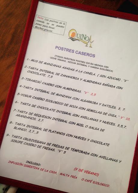 Quinoa restaurante vegetariano - Elche - Dessert menu