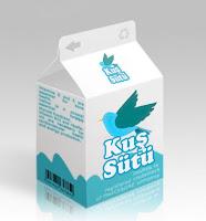 Küçük bir kuş sütü paketinden oluşan komik resim