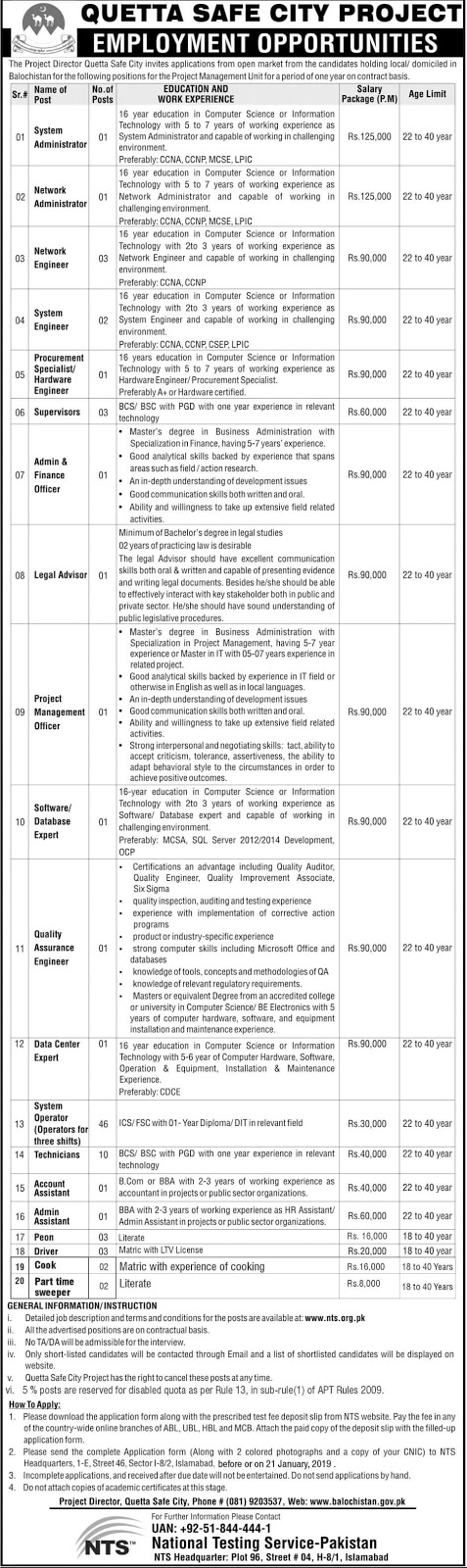Jobs in Quetta Safe City Project Balochistan Jan 2019