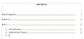 Gambar Daftar Isi Menggunakan Tab