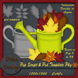 Fall Watering Can and Leaves