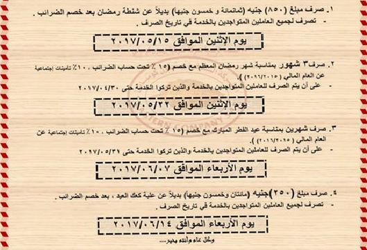 بإحدى الجهات الحكومية صرف 5 أشهر و1100 جنيه بدلات للعاملين بها بمناسبة شهر رمضان وعيد الفطر المبارك