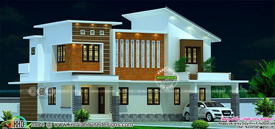2033 square feet modern house with slanting roof
