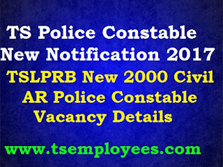 TS Police Constable Notification 2017 TSLPRB New Notification 2000 Jobs TSLPRB New 2000 Civil AR Police Constable Vacancies complete Details Telangana Police Conistable New Recruitment 2017