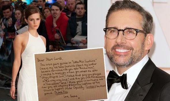 Emma Watson envia carta escrita à mão para Steve Carell