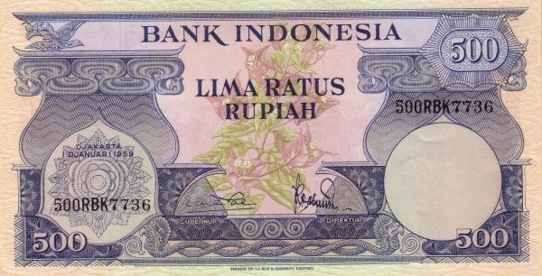 500 rupiah 1960 depan