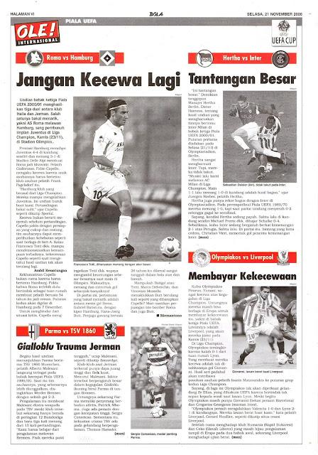 SOCCER NEWS UEFA CUP 2000 AS ROMA VS HAMBURG