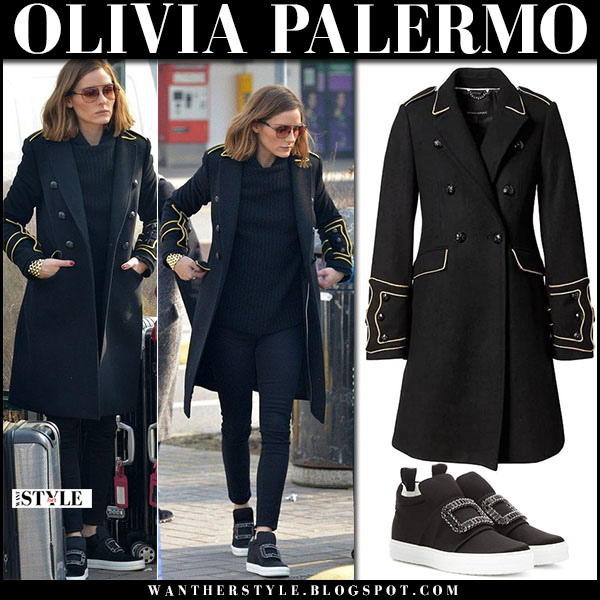 Olivia Palermo in black military coat banana republic, black jeans and sneakers roger vivier street fashion february 19