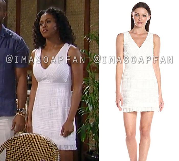 Jordan Ashford, Vinessa Antoine, White Lace Dress, General Hospital, GH