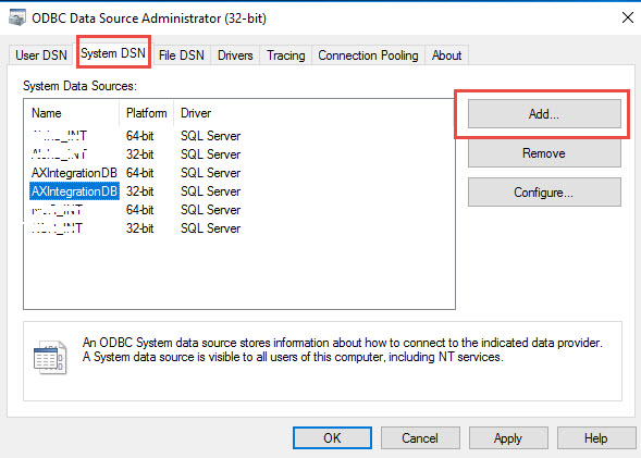 Configure or Setup ODBC Connection - Finance and Operations Community