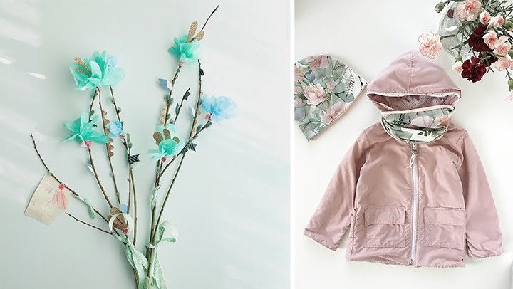 ompelu, kevättakki, aamukaste