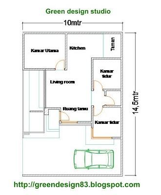 denah rumah ukuran 6x10m2 3 kamar 2