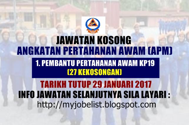 Jawatan Kosong Angkatan Pertahanan Awam (APM) Januari 2017