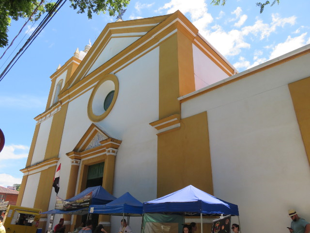 Yellow and white church in São José Historical Center.
