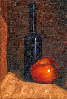 Oil painting of a blue castor oil bottle and a tomato.