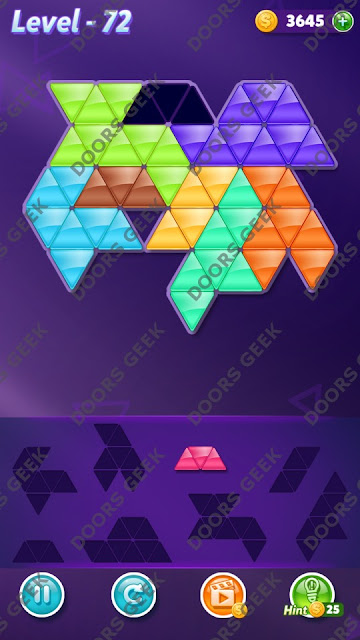 Block! Triangle Puzzle 8 Mania Level 72 Solution, Cheats, Walkthrough for Android, iPhone, iPad and iPod
