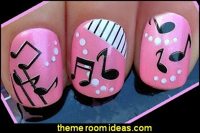 Nail art wraps water transfers stickers decals sheet music notes piano keys