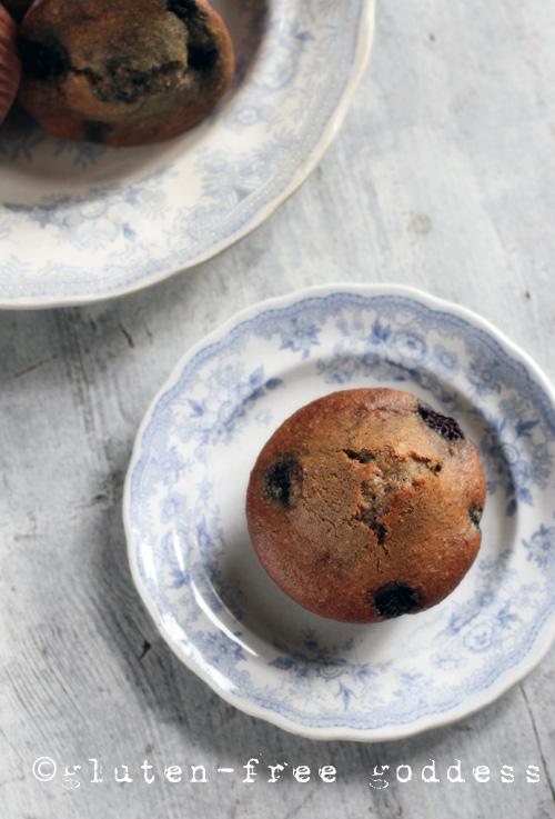 Gluten-Free Blueberry Flax Muffins @ Gluten-Free Goddess