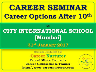 Career Options after 10th - Seminar at City International School - by Farzad Damania - Career Counsellor in Mumbai