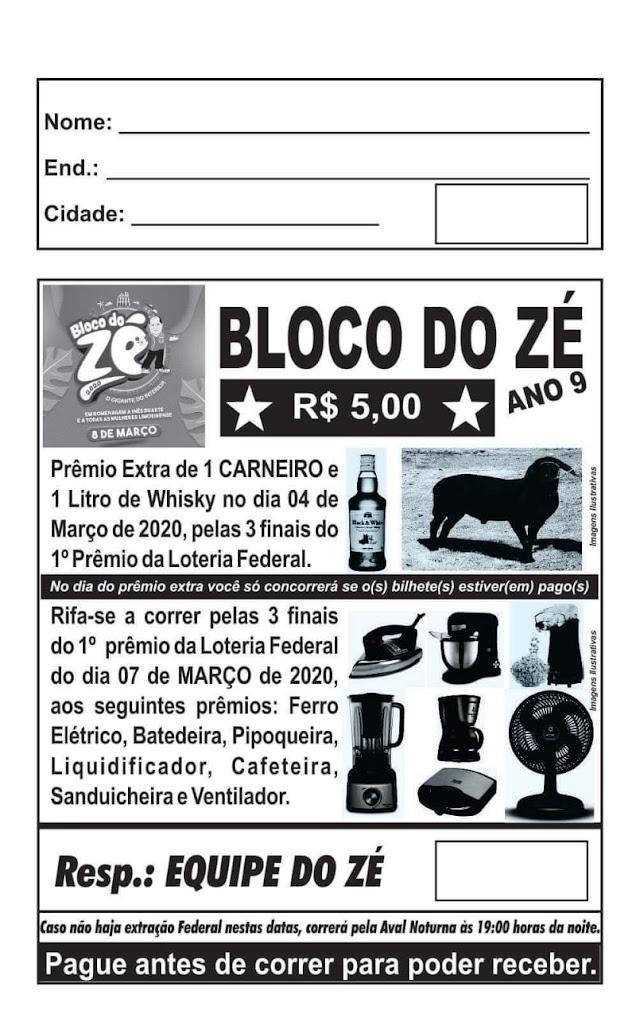 Rifa em prol do Bloco do Zé já está sendo vendida