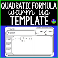 Quadratic Formula Warm Up Template