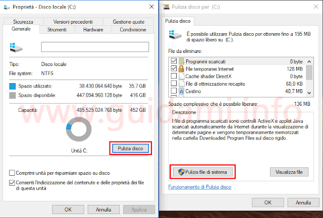 Windows 10 CU finestra Pulizia file di sistema