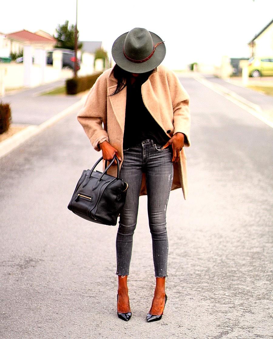 style-blogger-fedora-hat-camel-coat-celine-mini-luggage-louboutin-pigalle